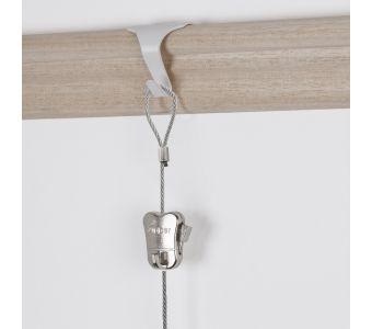 "STAS moulding hook white + STAS steel cable with loop end 150 cm (59"") + zipper"