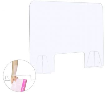 Sneeze Guard Clear Acrylic Barrier Stand, Protection Shield with Transaction Window