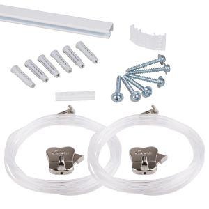 "STAS minirail white 150cm | 59"" - complete kit, including 2 perlon cords 150cm with STAS zipper"