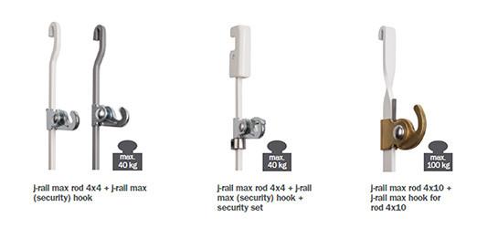 J-rail max hooks and cords